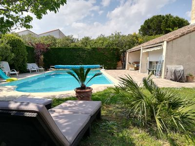 Photo for Beautiful villa with pool between beach and golf, close to shops