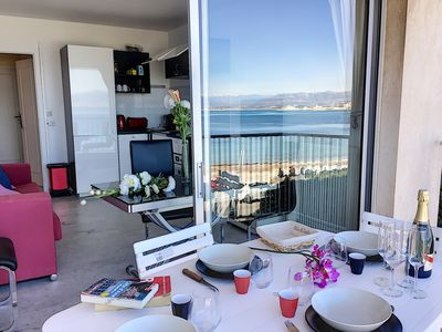 Photo for Beachfront apartment with panoramic sea view near Cap d'Antibes