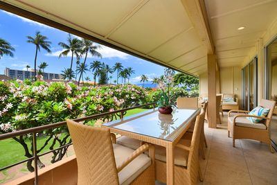 Front/Pool side of double long lanai with plenty of seating