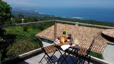 Photo for 10 minutes from SOLENZARA renovated village house, 2 terraces SEA VIEW for 5 pers