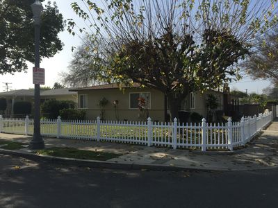 Picket fence around the front yard