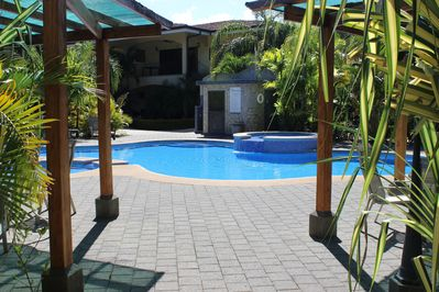 Inviting entrance to the Pool, with shade canopy for your enjoyment.