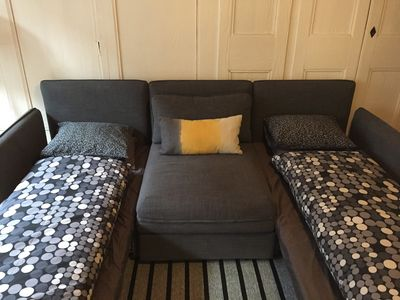 Sofa bed can offer separate beds for colleagues or grown siblings.