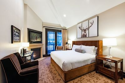 Spacious hotel room with king size bed.