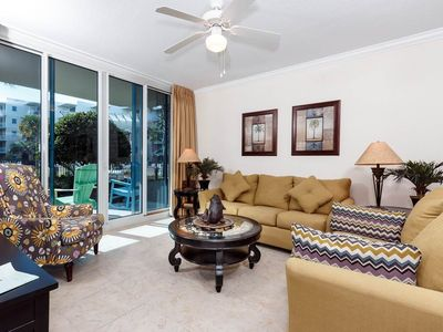 Photo for Gorgeous condo on Okaloosa Island! Free beach chairs!Children's playground + two hot tubs on-site!