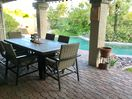 Wood grain patio table seats 6 -  plus extra chairs including 2 lounge chairs