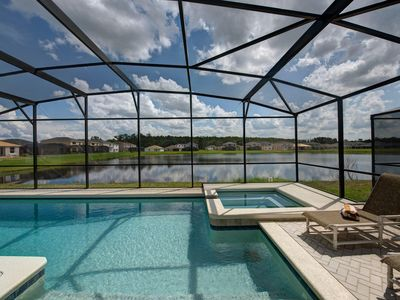 Photo for Gated Community!! Private pool with lake view and game room, near Disney!!