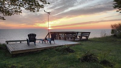 Photo for Charming Historic Cottage,  private Lake Mich. beach, amazing view