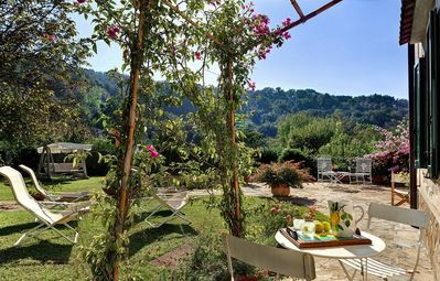 Photo for Private Villa with hot tub, WIFI, pool, A/C, TV, patio, panoramic view, parking, close to Sorrento