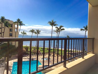 Actual view when seated in low snuggly love seat on the lanai-south Maui Coast!