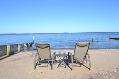 come dip your toes in the water on our beach or relax in the chairs.