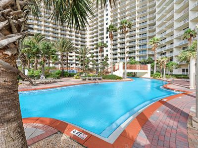 Photo for Lovely beachfront condo w/ private balcony/ shared pool & hot tub/ beach access!