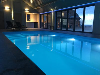 The indoor pool with exclusive use which  is heated and overlooks the farmland