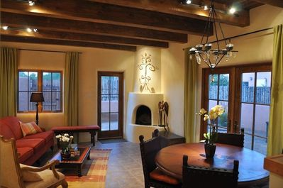 Living Room with 10' beamed wood ceilings