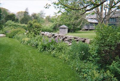 25 year old perennial garden 100 year old barn in background