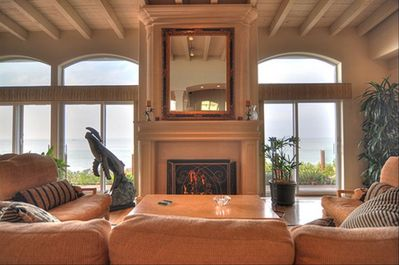 Living Room with Fireplace, Stereo Speakers and Sit Down Ocean Views