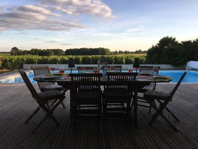 Dining terrace with views to vineyard