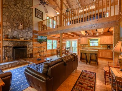 "Photo for Cozy Mountain Cabin in ""The Lakes"", Hot Tub, Game Room, Fire Pit, King Beds, Fishing"