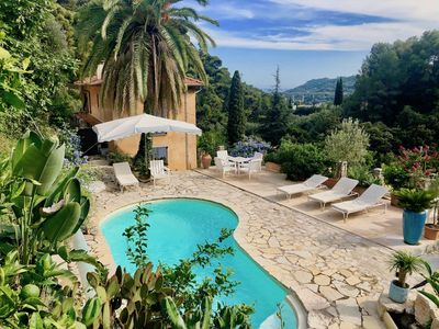 Photo for House, private heated pool, sea, beautiful panorama in NATURA200 site