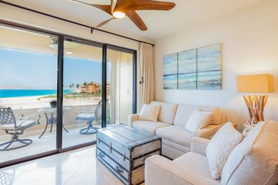 Serene, comfortable furnishings throughout including full-size sleeper sofa...
