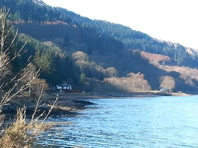 Saraig nestled in the bay taken on the approach to the cottage from Ratagan.