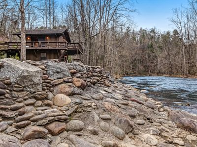 Photo for Spacious riverfront cabin w/ multiple decks & electric fireplace!