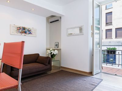 Photo for Lovely apartment with balcony, by beautiful Piazza Volta, in the city Como.