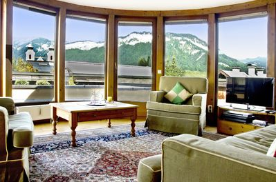 View from our lovely lounge, on to the terrace, & across  180° mountain views