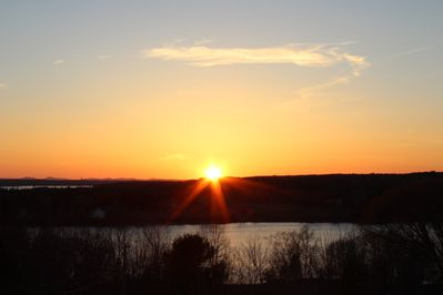 View of the Sun Setting from the Deck