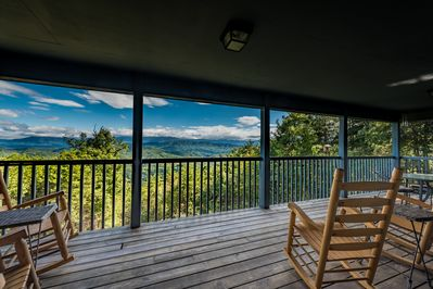 Enjoy the every changing spectacular view from the oversized back porch