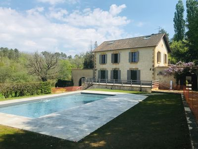 Photo for Dordogne/Fortified town Monpazier/large family house/7 bds/outside private pool/
