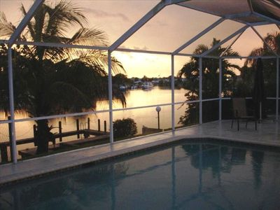Spectacular Sunset View of the Canals, Pool and Dock