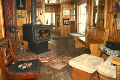 Entry with wood burning stove