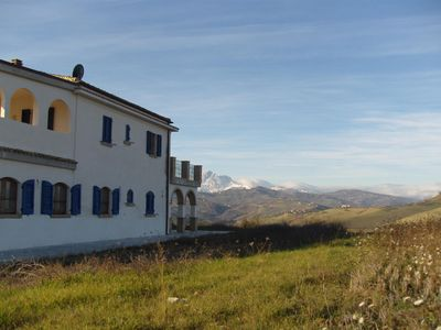 Back of Villa with mountains in the background