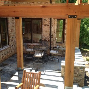 Upper terrace with pergola and gas grill