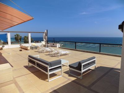 Photo for 3b Beachfront Large Pool Penthouse-Apollonia beach