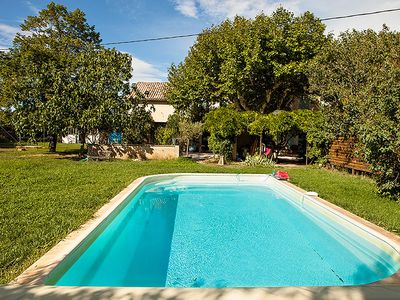 Photo for Shaded farmhouse in the middle of meadows with swimming pool and large garden