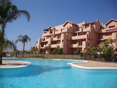 Photo for Stunning Luxury 3 Bed, 2 Bath Frontline Golf Apartment Poolside TV WiFi PingPong