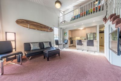 Living room, high vaulted ceilings.