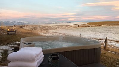 Enjoy the private hot tub on the guest house patio