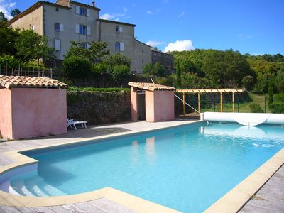 Photo for Typical cevenol hamlet 3 dwellings, 16 pers. piano pool unobstructed view