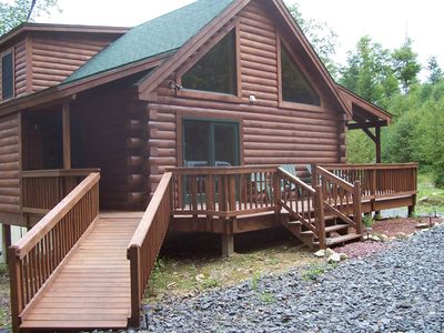 Photo for Rustic Luxury Log Cabin in the Woods