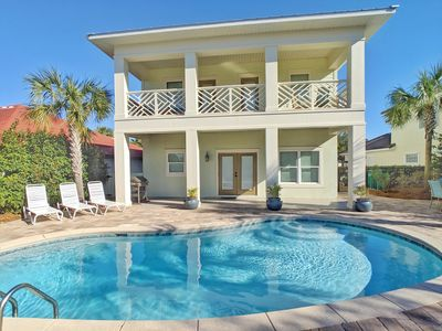 Photo for Perfect Home! Free Golf Cart, Private heated pool, Less than 5 minutes to beach!