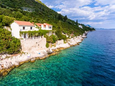 Photo for Mediterranean Holiday House near Dubrovnik with direct sea access