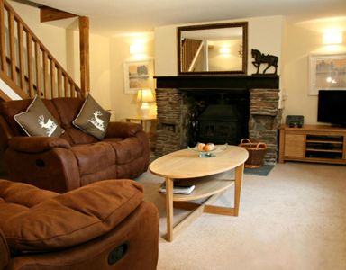 New Mill Cottage - Sitting room with cosy woodburner