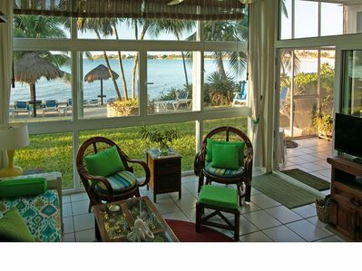 The main beach view is almost 280 degrees, with floor to ceiling windows