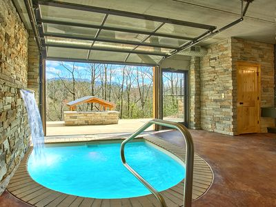 Photo for Romantic Modern Cabin with Indoor Pool Spa and Amazing Mountain Views