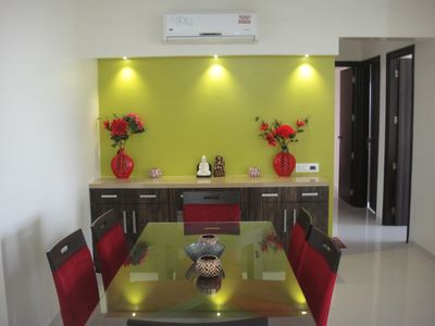 Photo for 3-BHK specious Residential Apartment with great View of PAGODA ( Essel World ).