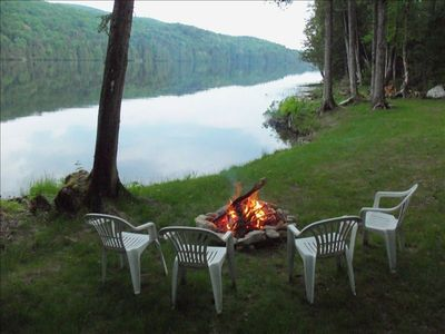 Enjoy a fire by the pond