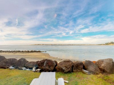 Photo for Dog-friendly bayfront cottage in town w/incredible views, close to shops & beach